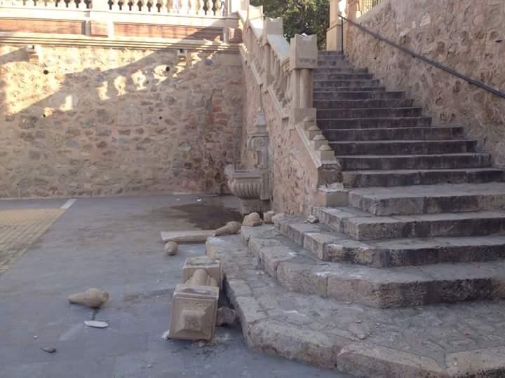 Restos del destrozo. Foto:IP.